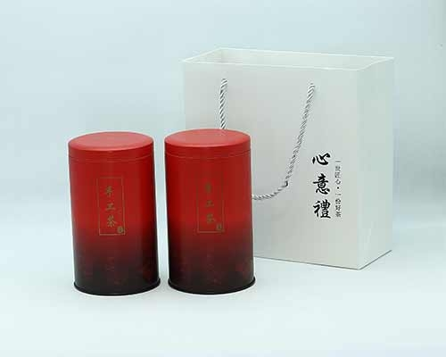 圆形茶叶罐(红)